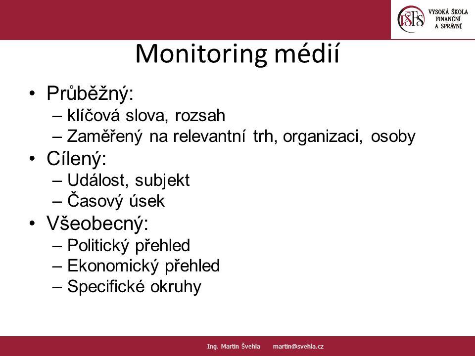 Monitoring médií Průběžný: –klíčová slova, rozsah –Zaměřený na relevantní trh, organizaci, osoby Cílený: –Událost, subjekt –Časový úsek Všeobecný: –Po