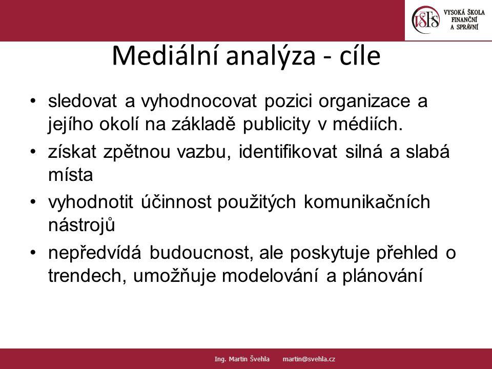 Mediální analýza - cíle sledovat a vyhodnocovat pozici organizace a jejího okolí na základě publicity v médiích. získat zpětnou vazbu, identifikovat s