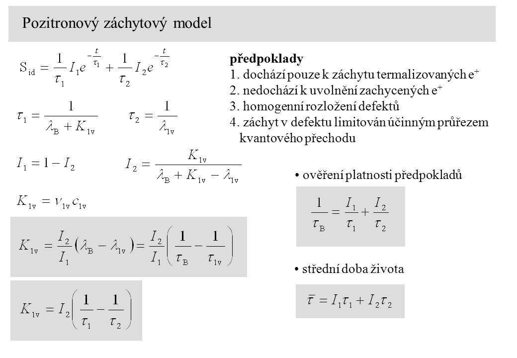 předpoklady 1. dochází pouze k záchytu termalizovaných e + 2. nedochází k uvolnění zachycených e + 3. homogenní rozložení defektů 4. záchyt v defektu