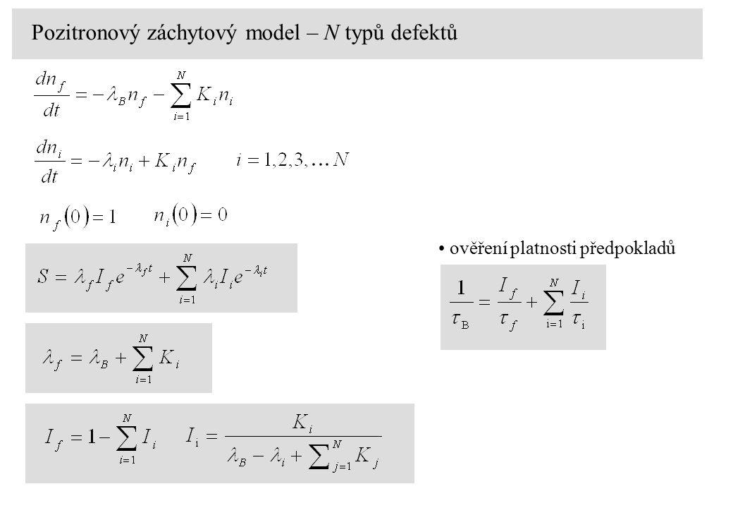 Pozitronový záchytový model – N typů defektů ověření platnosti předpokladů