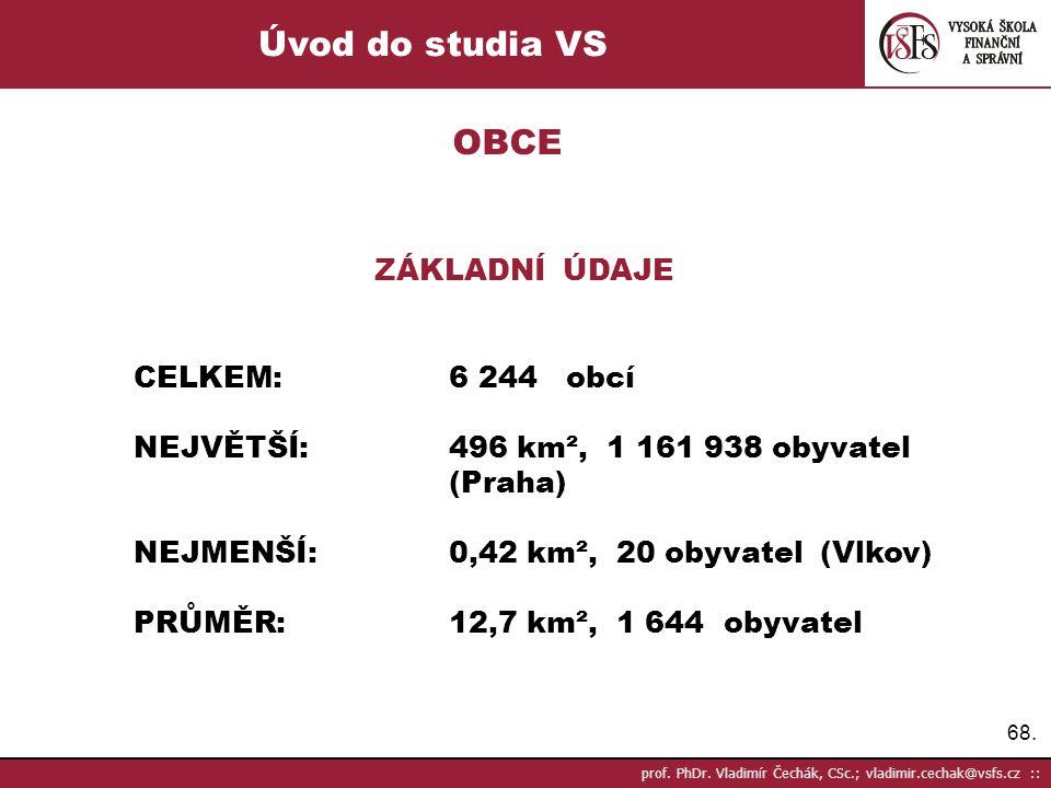 68. prof. PhDr. Vladimír Čechák, CSc.; vladimir.cechak@vsfs.cz :: Úvod do studia VS OBCE ZÁKLADNÍ ÚDAJE CELKEM:6 244 obcí NEJVĚTŠÍ:496 km², 1 161 938