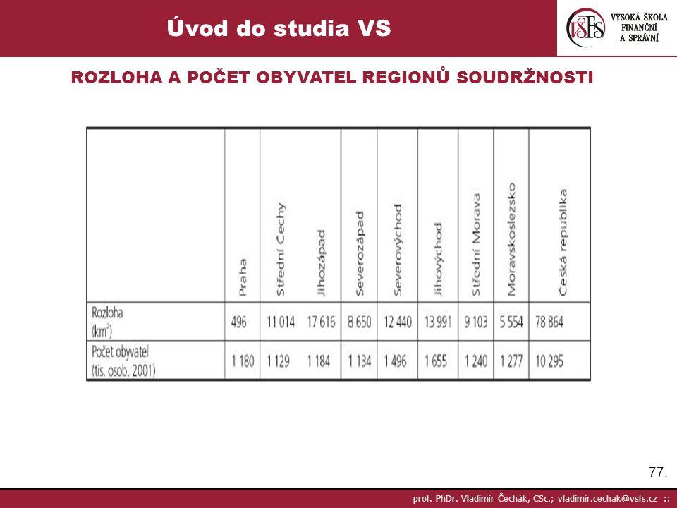 77. prof. PhDr. Vladimír Čechák, CSc.; vladimir.cechak@vsfs.cz :: Úvod do studia VS ROZLOHA A POČET OBYVATEL REGIONŮ SOUDRŽNOSTI