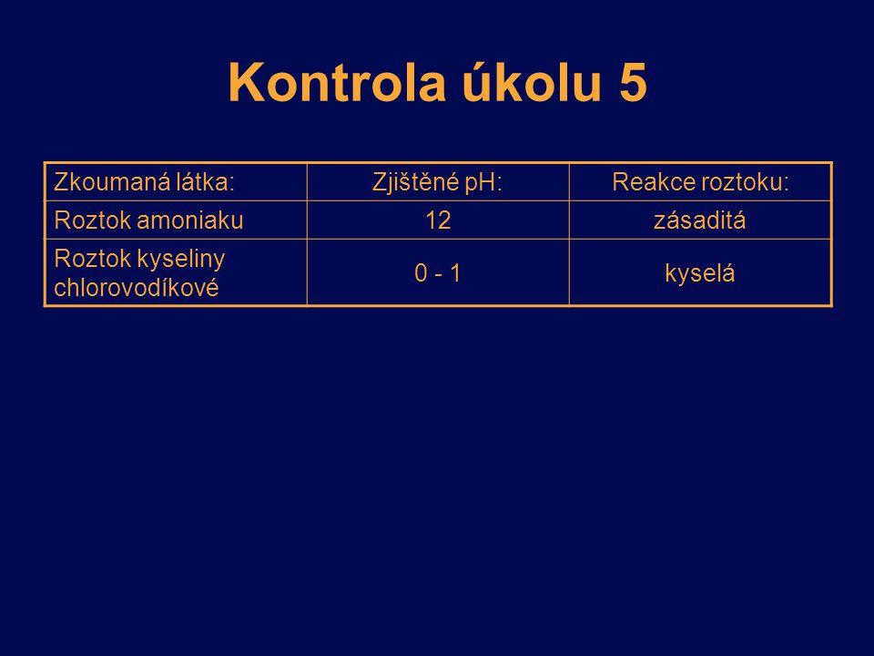 Kontrola úkolu 5 Zkoumaná látka:Zjištěné pH:Reakce roztoku: Roztok amoniaku 12zásaditá Roztok kyseliny chlorovodíkové 0 - 1kyselá