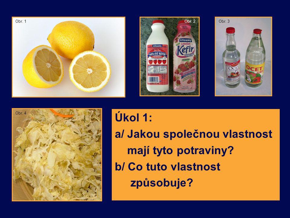 Úkol 1: a/ Jakou společnou vlastnost mají tyto potraviny? b/ Co tuto vlastnost způsobuje? Obr. 4 Obr. 3Obr. 1Obr. 2