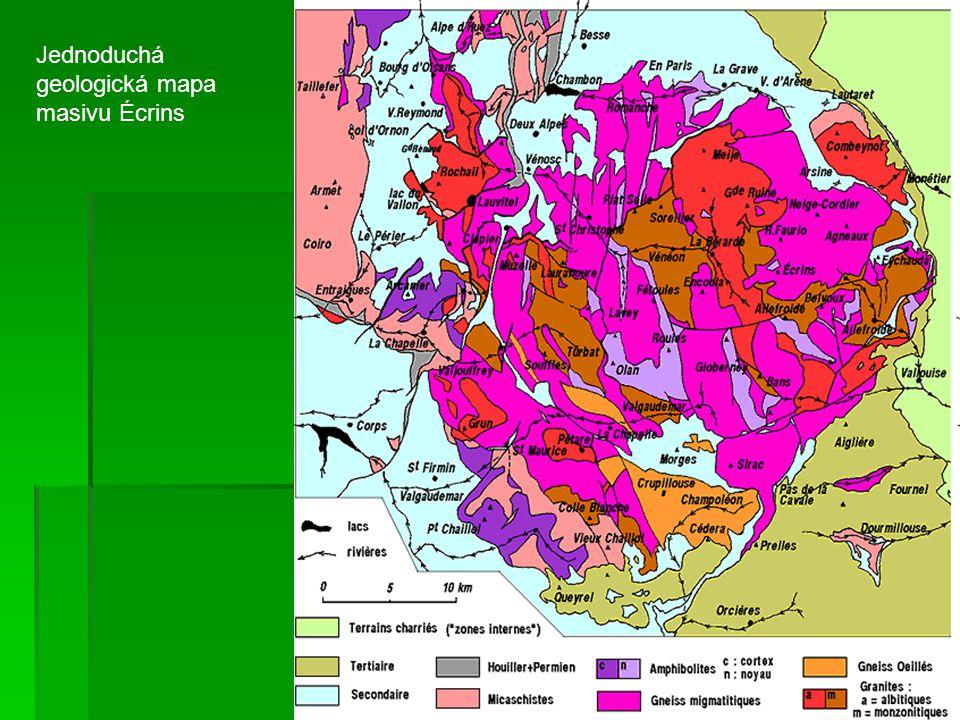 Jednoduchá geologická mapa masivu Écrins
