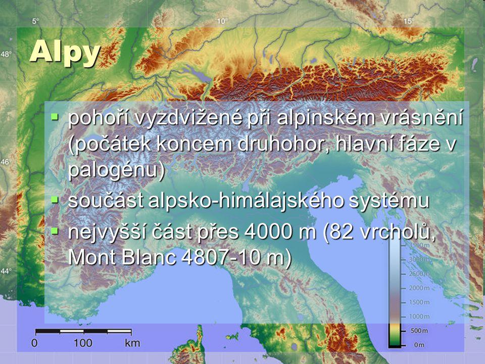 Alpy  pohoří vyzdvižené při alpinském vrásnění (počátek koncem druhohor, hlavní fáze v palogénu)  součást alpsko-himálajského systému  nejvyšší čás