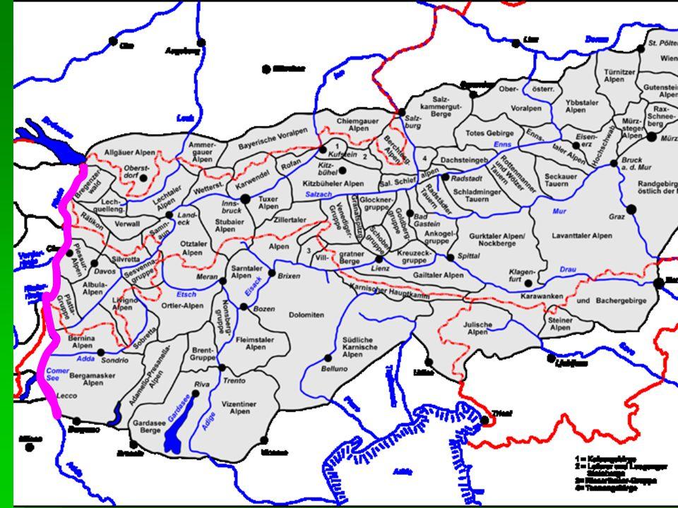 Geomorfologické členění Alp  Obvyklé hlavní členění na Západní a Východní Alpy  dělící linie Bodamské jezero – podél Rýna, Liro a Mera k jezeru Como