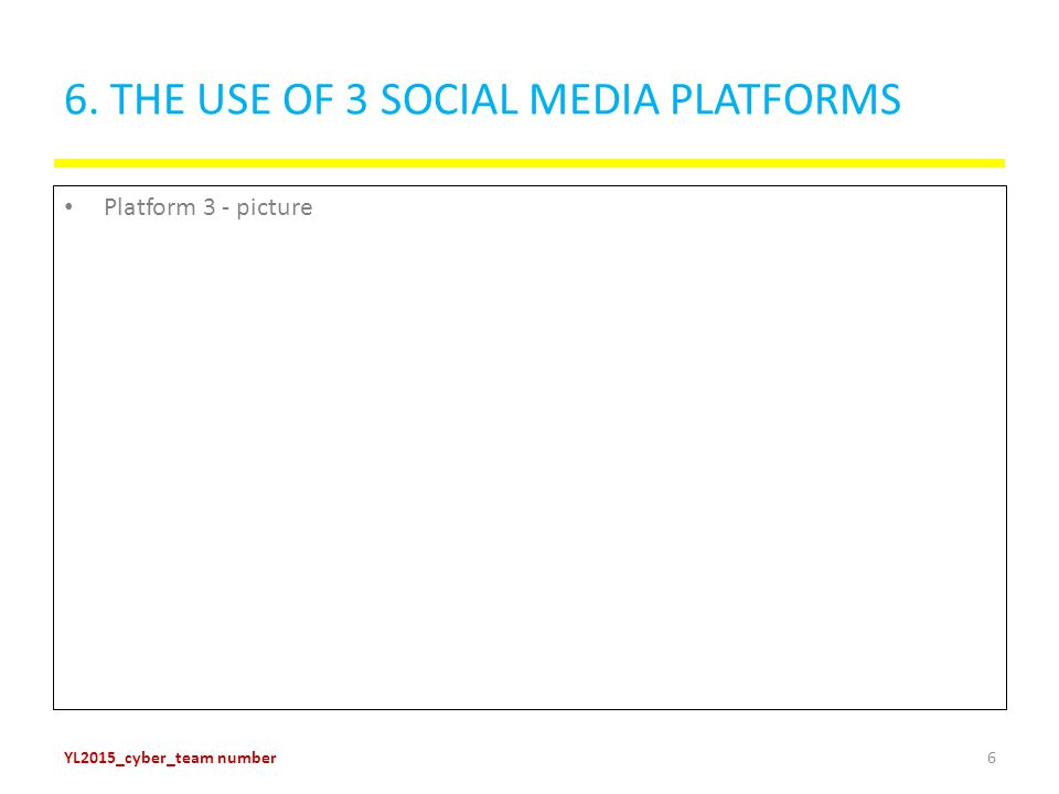 6. THE USE OF 3 SOCIAL MEDIA PLATFORMS Platform 3 - picture YL2015_cyber_team number6