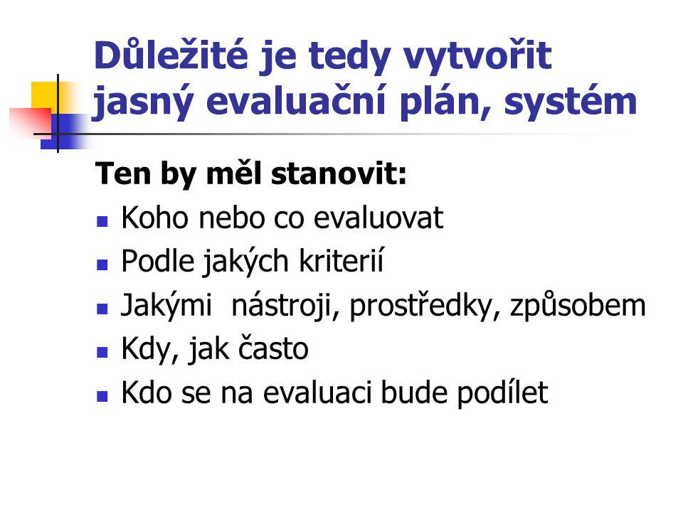 Důležité je tedy vytvořit jasný evaluační plán, systém Ten by měl stanovit: Koho nebo co evaluovat Podle jakých kriterií Jakými nástroji, prostředky,