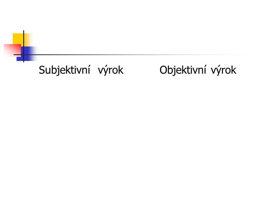 Subjektivní výrokObjektivní výrok