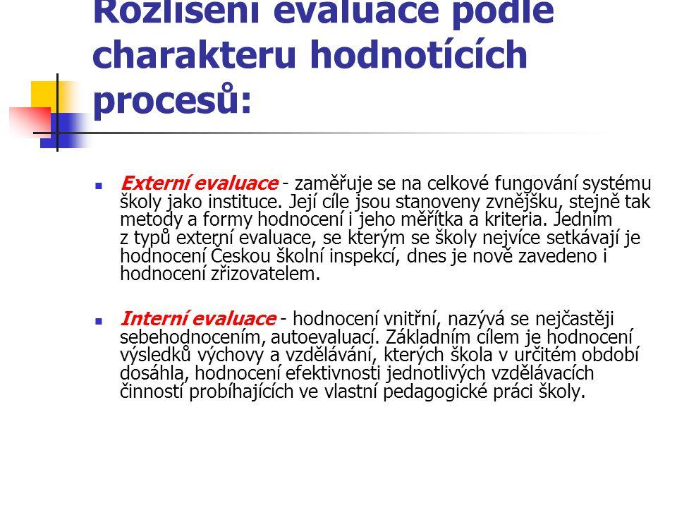 Rozlišení evaluace podle charakteru hodnotících procesů: Externí evaluace - zaměřuje se na celkové fungování systému školy jako instituce. Její cíle j