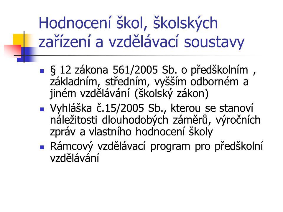 Hodnocení škol, školských zařízení a vzdělávací soustavy § 12 zákona 561/2005 Sb. o předškolním, základním, středním, vyšším odborném a jiném vzdělává