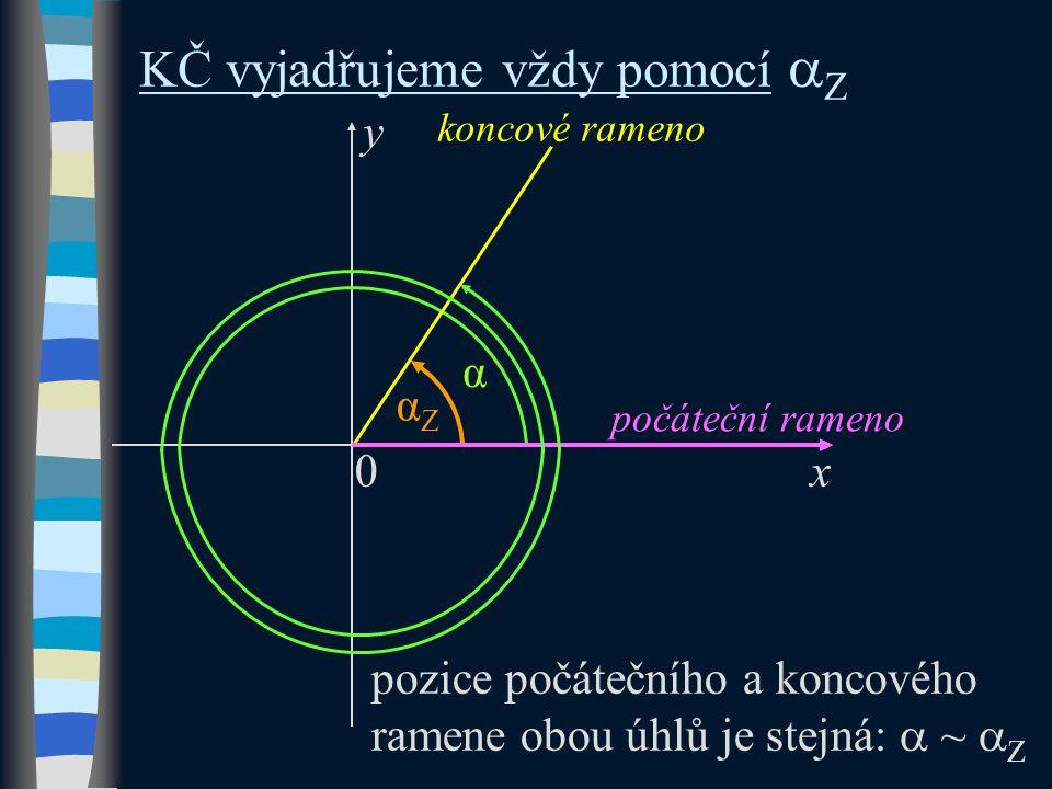 ~  Z k vyjádření KČ lze vždy použít základní argument pozice počátečního a koncového ramene obou úhlů je stejná:  ~  Z αZαZ y x0 počáteční rameno koncové rameno α KČ vyjadřujeme vždy pomocí  Z