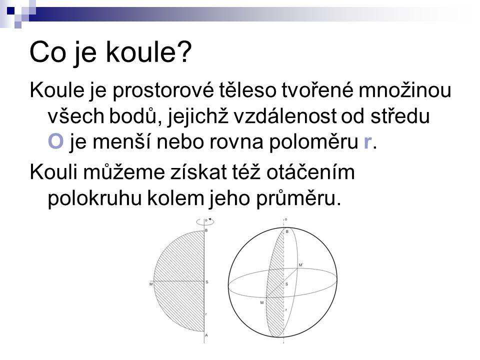 Co je koule? Koule je prostorové těleso tvořené množinou všech bodů, jejichž vzdálenost od středu O je menší nebo rovna poloměru r. Kouli můžeme získa