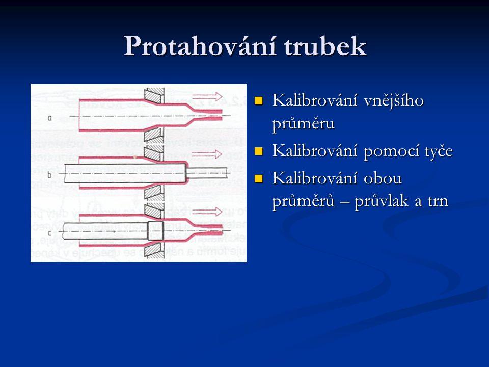 Protahování trubek Kalibrování vnějšího průměru Kalibrování pomocí tyče Kalibrování obou průměrů – průvlak a trn