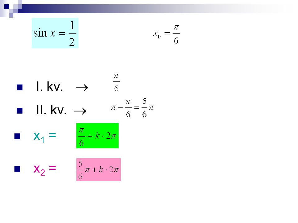 I. kv.  II. kv.  x 1 = x 2 =