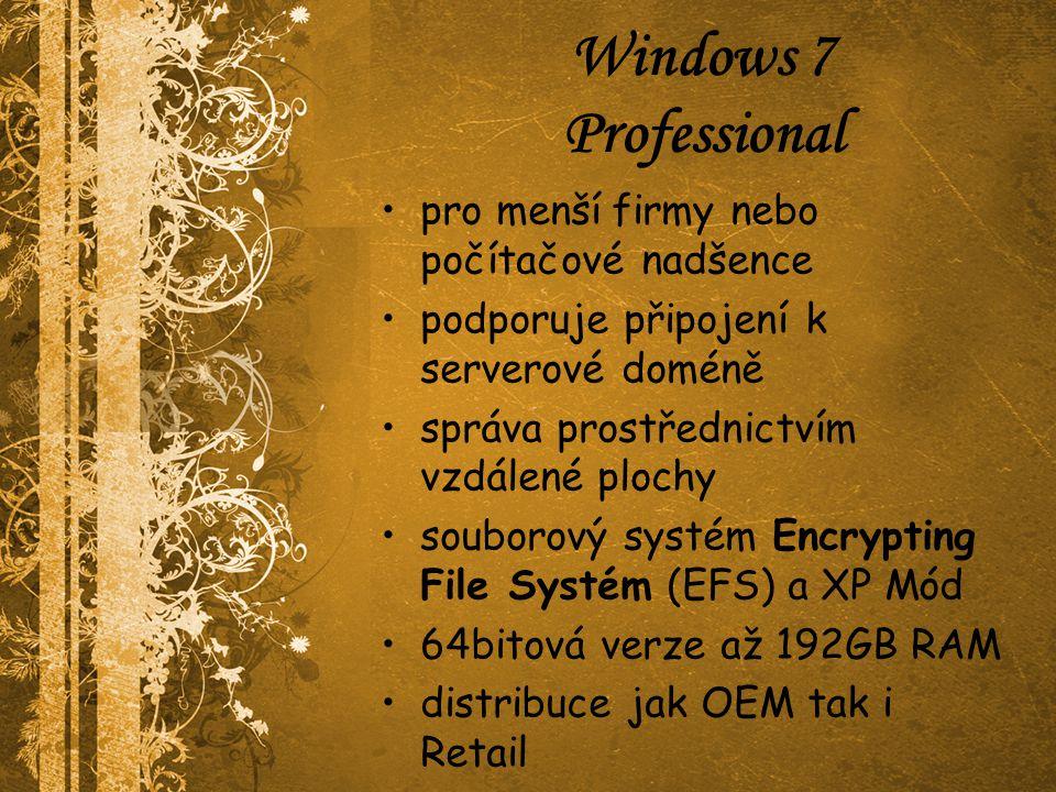 Windows 7 Professional pro menší firmy nebo počítačové nadšence podporuje připojení k serverové doméně správa prostřednictvím vzdálené plochy souborov