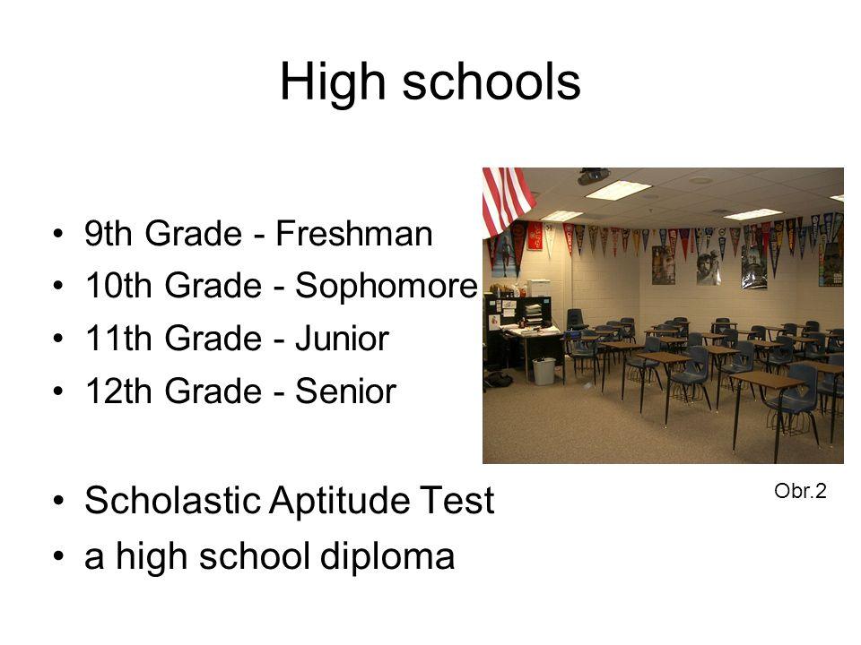 High schools 9th Grade - Freshman 10th Grade - Sophomore 11th Grade - Junior 12th Grade - Senior Scholastic Aptitude Test a high school diploma Obr.2