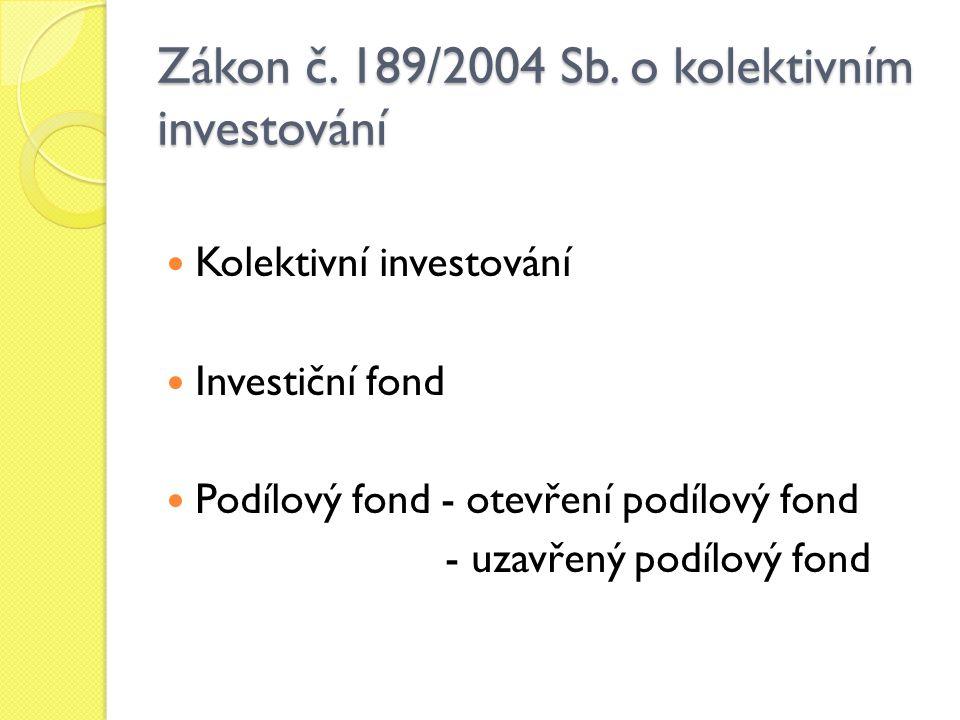 Investiční společnost - účtování o majetku v podílovém fondu - smlouva o obhospodařování majetku v investičním fondu - úplata za obhospodařování majetku fondu kolektivního investování Depozitář fondu kolektivního investování - činnosti depozitáře