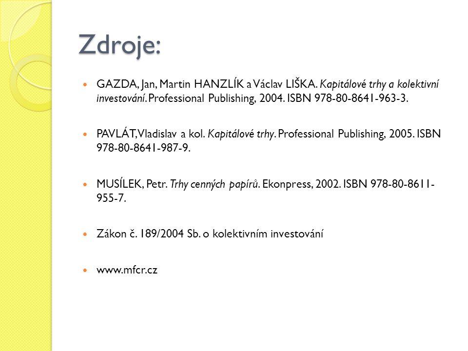 Zdroje: GAZDA, Jan, Martin HANZLÍK a Václav LIŠKA.