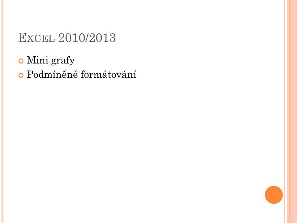 E XCEL 2010/2013 Mini grafy Podmíněné formátování