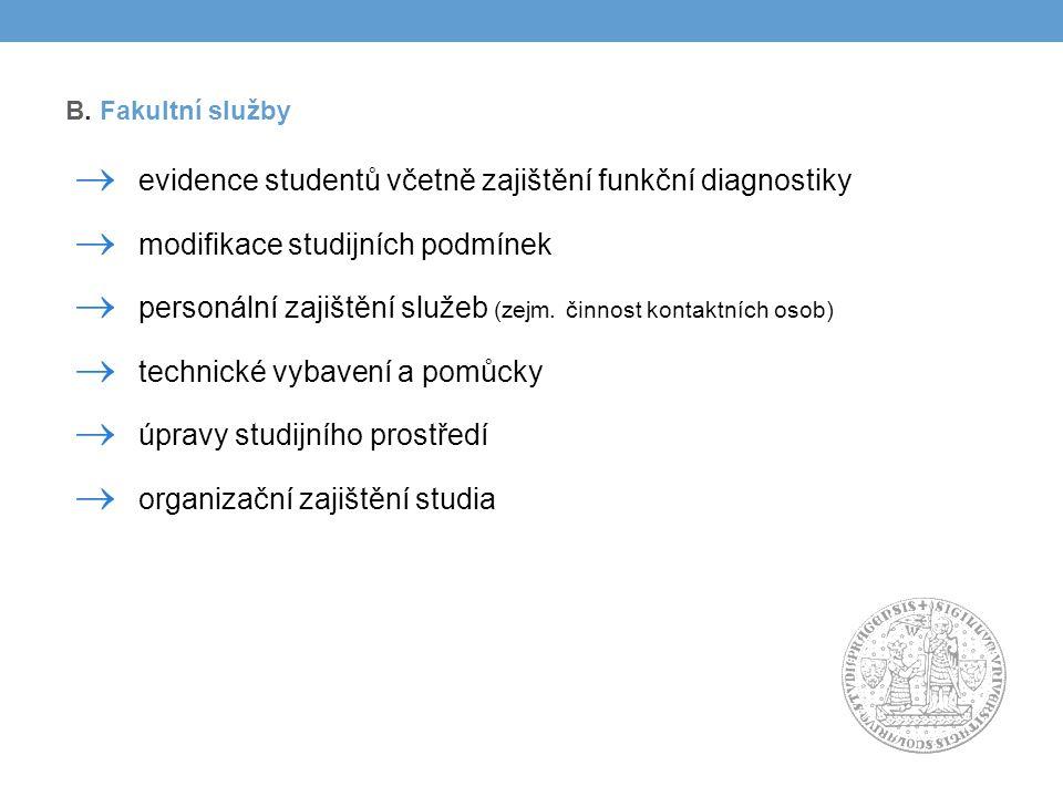  evidence studentů včetně zajištění funkční diagnostiky  modifikace studijních podmínek  personální zajištění služeb (zejm.