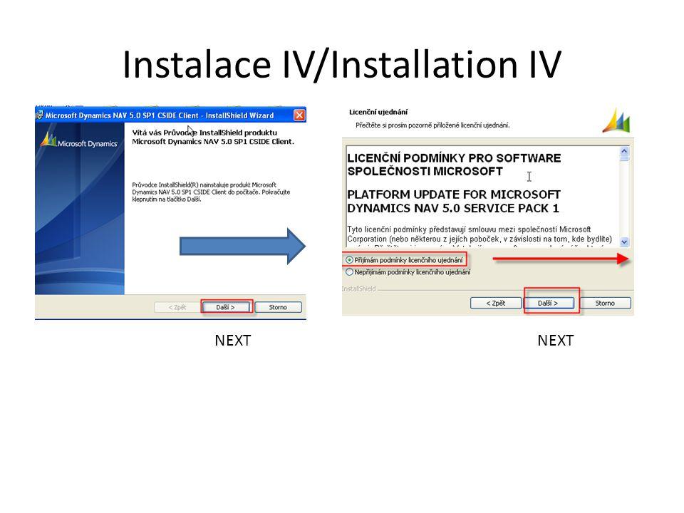Instalace V / Installation V NEXT Your name