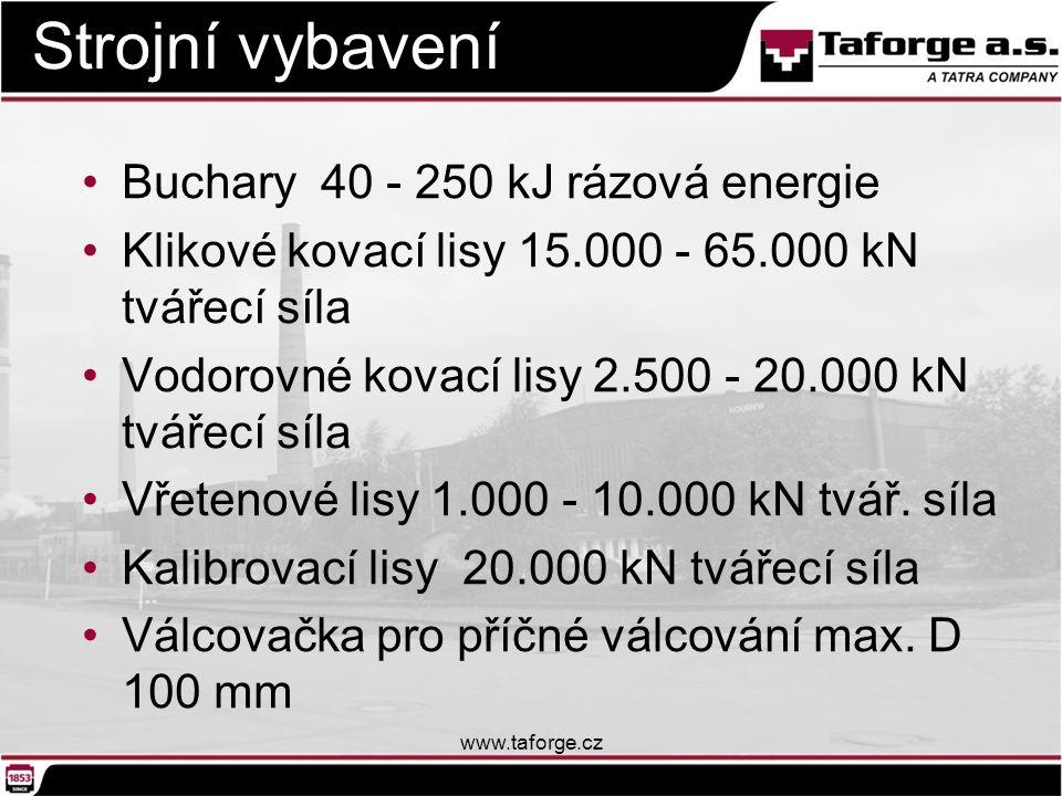 Strojní vybavení Buchary 40 - 250 kJ rázová energie Klikové kovací lisy 15.000 - 65.000 kN tvářecí síla Vodorovné kovací lisy 2.500 - 20.000 kN tvářec