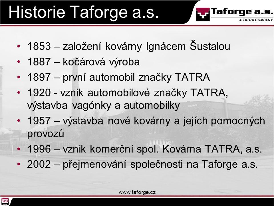 Historie Taforge a.s. 1853 – založení kovárny Ignácem Šustalou 1887 – kočárová výroba 1897 – první automobil značky TATRA 1920 - vznik automobilové zn
