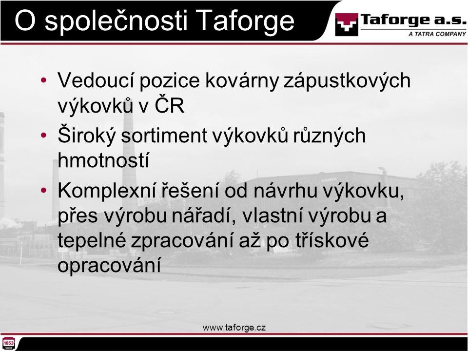 O společnosti Taforge Vedoucí pozice kovárny zápustkových výkovků v ČR Široký sortiment výkovků různých hmotností Komplexní řešení od návrhu výkovku,