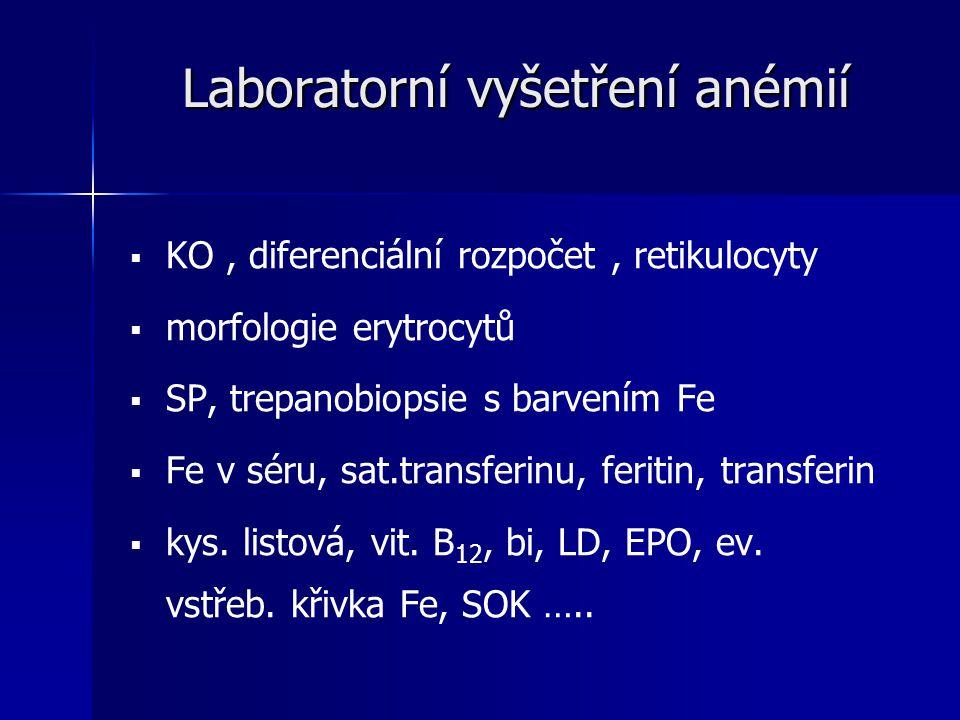 Laboratorní vyšetření anémií   KO, diferenciální rozpočet, retikulocyty   morfologie erytrocytů   SP, trepanobiopsie s barvením Fe   Fe v séru, sat.transferinu, feritin, transferin   kys.