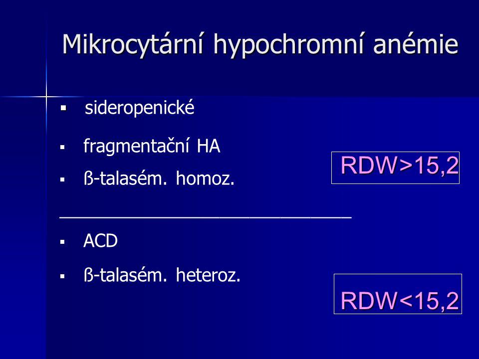 Mikrocytární hypochromní anémie Mikrocytární hypochromní anémie   sideropenické   fragmentační HA   ß-talasém.
