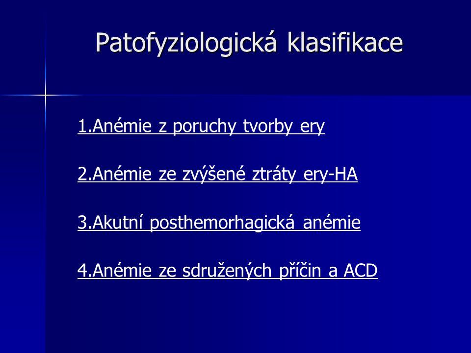 Patofyziologická klasifikace 1.Anémie z poruchy tvorby ery 2.Anémie ze zvýšené ztráty ery-HA 3.Akutní posthemorhagická anémie 4.Anémie ze sdružených příčin a ACD