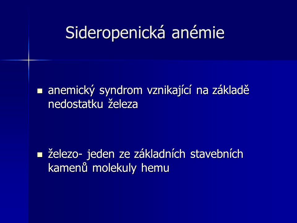 Sideropenická anémie Sideropenická anémie anemický syndrom vznikající na základě nedostatku železa anemický syndrom vznikající na základě nedostatku železa železo- jeden ze základních stavebních kamenů molekuly hemu železo- jeden ze základních stavebních kamenů molekuly hemu