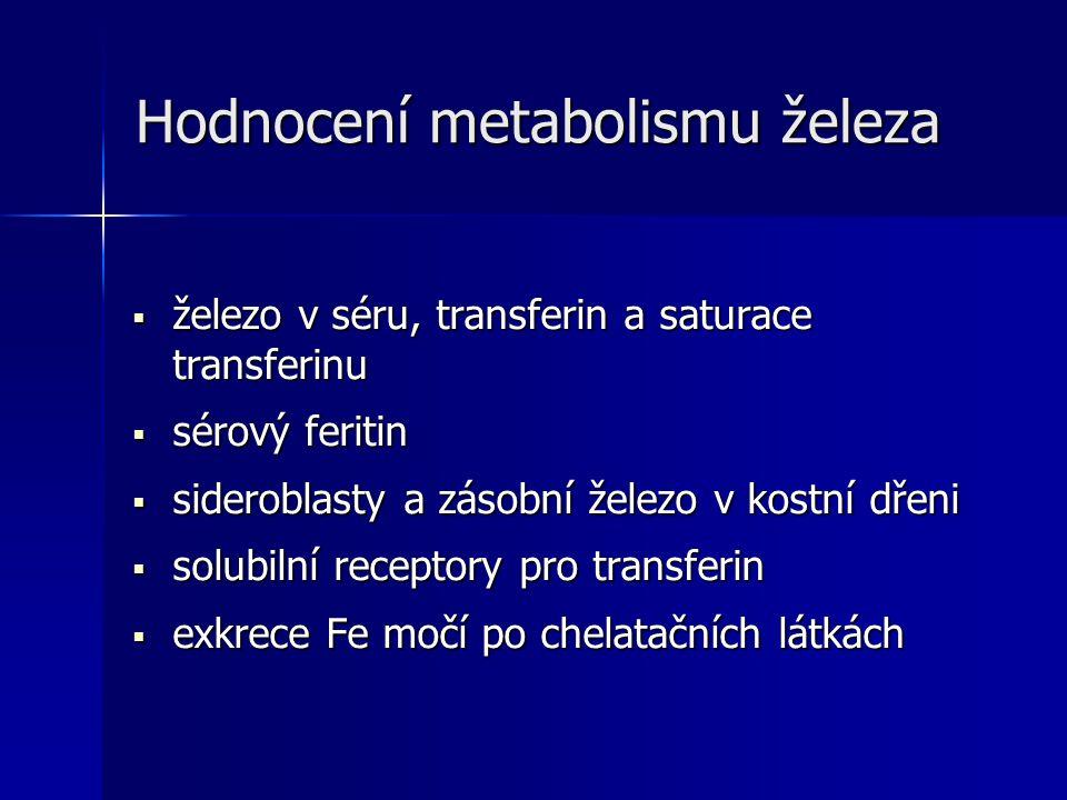 Hodnocení metabolismu železa  železo v séru, transferin a saturace transferinu  sérový feritin  sideroblasty a zásobní železo v kostní dřeni  solubilní receptory pro transferin  exkrece Fe močí po chelatačních látkách