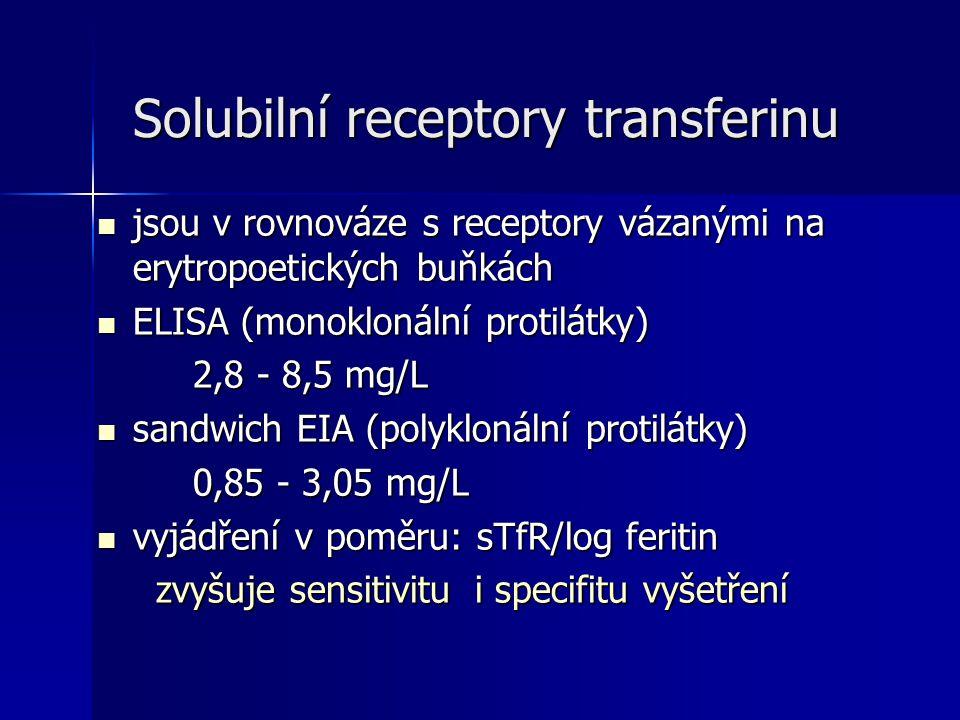 Solubilní receptory transferinu Solubilní receptory transferinu jsou v rovnováze s receptory vázanými na erytropoetických buňkách jsou v rovnováze s receptory vázanými na erytropoetických buňkách ELISA (monoklonální protilátky) ELISA (monoklonální protilátky) 2,8 - 8,5 mg/L sandwich EIA (polyklonální protilátky) sandwich EIA (polyklonální protilátky) 0,85 - 3,05 mg/L vyjádření v poměru: sTfR/log feritin vyjádření v poměru: sTfR/log feritin zvyšuje sensitivitu i specifitu vyšetření zvyšuje sensitivitu i specifitu vyšetření