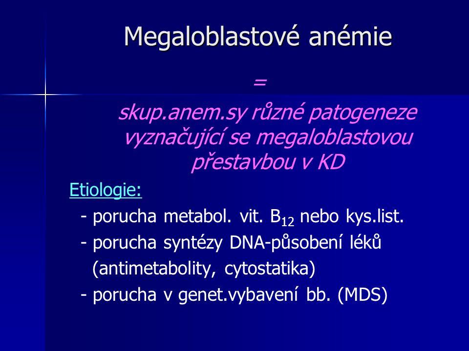 Megaloblastové anémie = skup.anem.sy různé patogeneze vyznačující se megaloblastovou přestavbou v KD Etiologie: - porucha metabol.