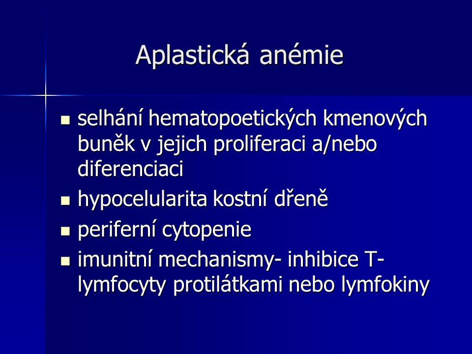 Aplastická anémie Aplastická anémie selhání hematopoetických kmenových buněk v jejich proliferaci a/nebo diferenciaci selhání hematopoetických kmenových buněk v jejich proliferaci a/nebo diferenciaci hypocelularita kostní dřeně hypocelularita kostní dřeně periferní cytopenie periferní cytopenie imunitní mechanismy- inhibice T- lymfocyty protilátkami nebo lymfokiny imunitní mechanismy- inhibice T- lymfocyty protilátkami nebo lymfokiny