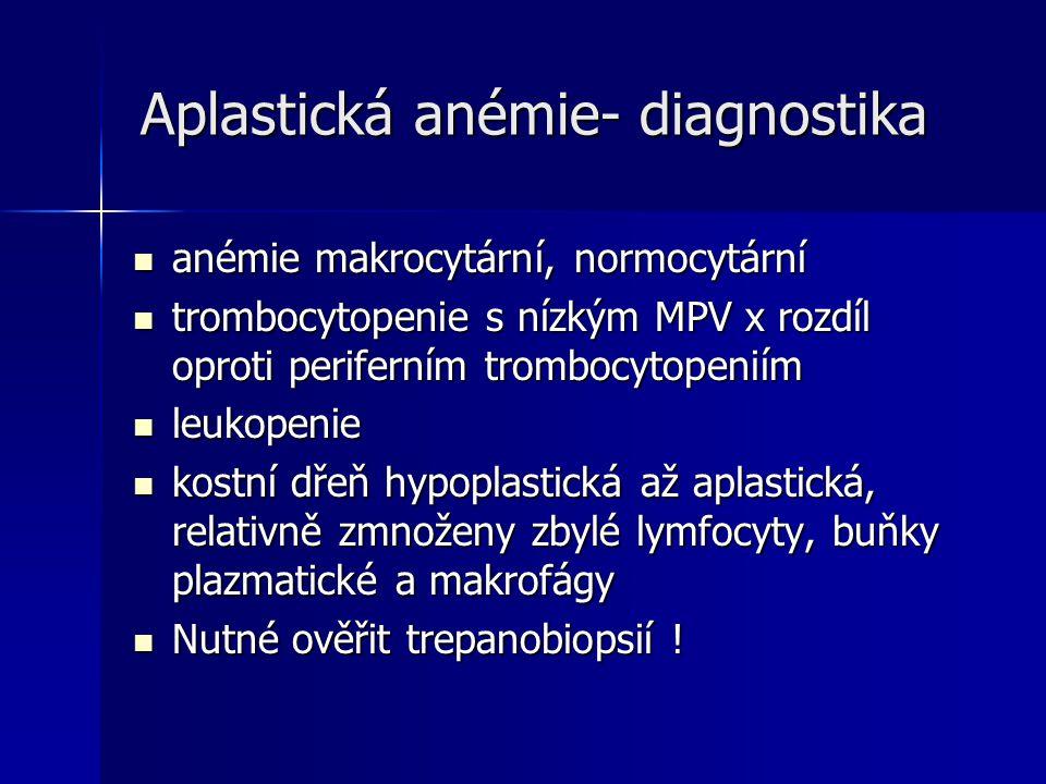 Aplastická anémie- diagnostika Aplastická anémie- diagnostika anémie makrocytární, normocytární anémie makrocytární, normocytární trombocytopenie s nízkým MPV x rozdíl oproti periferním trombocytopeniím trombocytopenie s nízkým MPV x rozdíl oproti periferním trombocytopeniím leukopenie leukopenie kostní dřeň hypoplastická až aplastická, relativně zmnoženy zbylé lymfocyty, buňky plazmatické a makrofágy kostní dřeň hypoplastická až aplastická, relativně zmnoženy zbylé lymfocyty, buňky plazmatické a makrofágy Nutné ověřit trepanobiopsií .