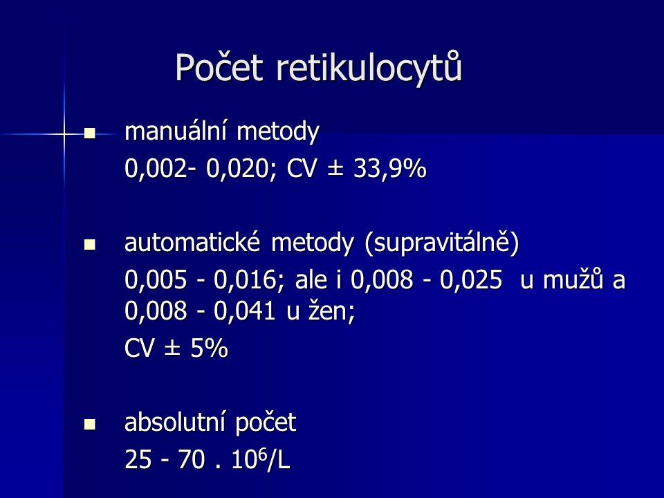 Počet retikulocytů Počet retikulocytů manuální metody manuální metody 0,002- 0,020; CV ± 33,9% automatické metody (supravitálně) automatické metody (supravitálně) 0,005 - 0,016; ale i 0,008 - 0,025 u mužů a 0,008 - 0,041 u žen; CV ± 5% absolutní počet absolutní počet 25 - 70.