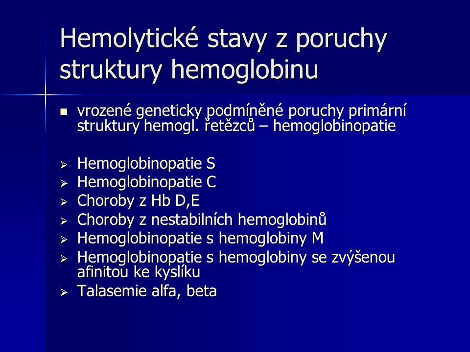 Hemolytické stavy z poruchy struktury hemoglobinu vrozené geneticky podmíněné poruchy primární struktury hemogl.