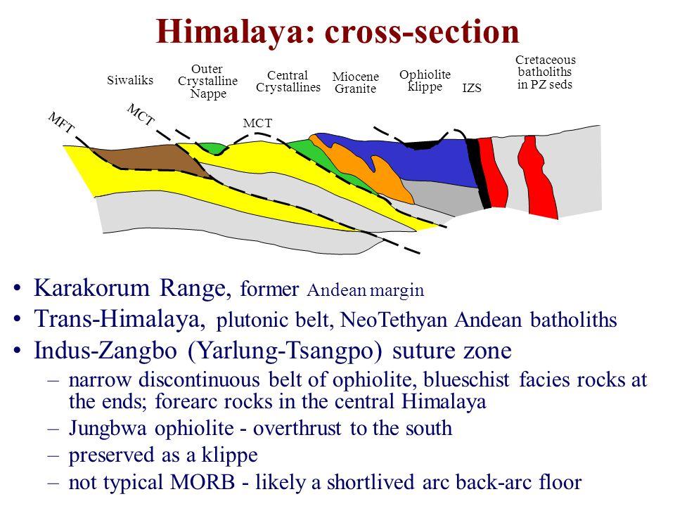 Karakorum Range, former Andean margin Trans-Himalaya, plutonic belt, NeoTethyan Andean batholiths Indus-Zangbo (Yarlung-Tsangpo) suture zone –narrow d