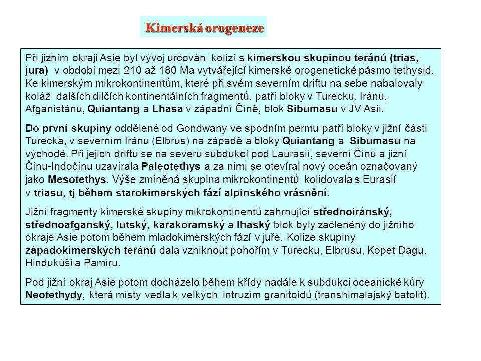 Při jižním okraji Asie byl vývoj určován kolizí s kimerskou skupinou teránů (trias, jura) v období mezi 210 až 180 Ma vytvářející kimerské orogenetick