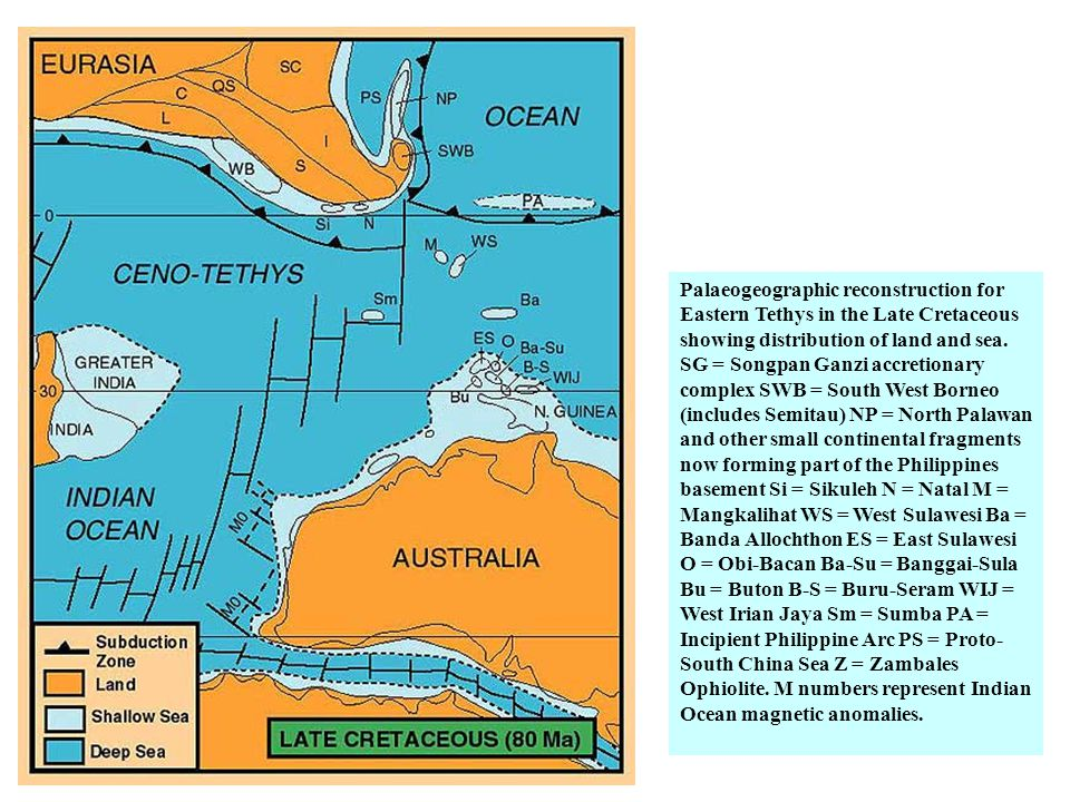 Palaeogeographic reconstruction for Eastern Tethys in the Late Cretaceous showing distribution of land and sea.