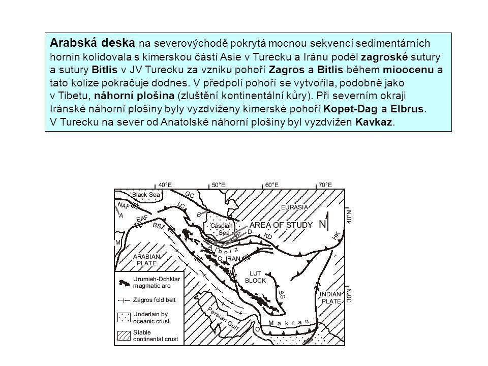 Arabská deska na severovýchodě pokrytá mocnou sekvencí sedimentárních hornin kolidovala s kimerskou částí Asie v Turecku a Iránu podél zagroské sutury a sutury Bitlis v JV Turecku za vzniku pohoří Zagros a Bitlis během mioocenu a tato kolize pokračuje dodnes.