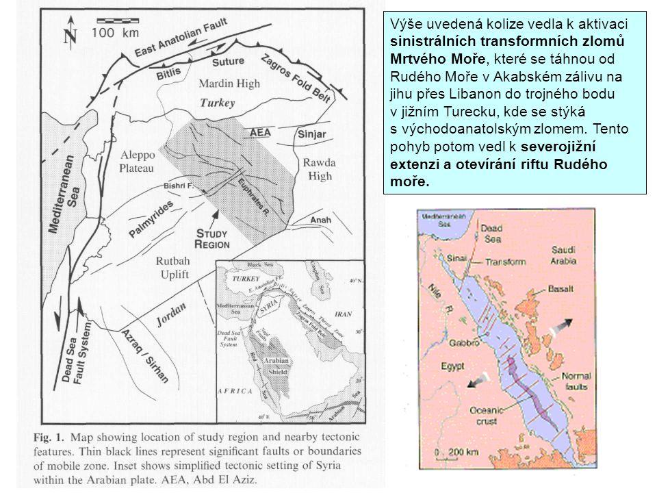 Výše uvedená kolize vedla k aktivaci sinistrálních transformních zlomů Mrtvého Moře, které se táhnou od Rudého Moře v Akabském zálivu na jihu přes Lib