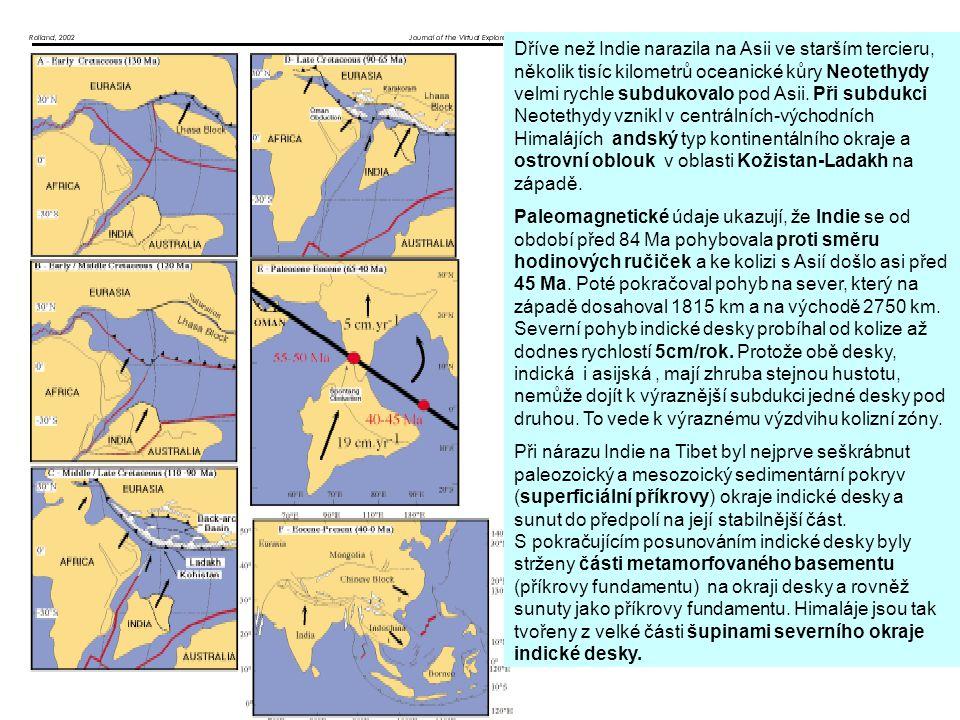 Dříve než Indie narazila na Asii ve starším tercieru, několik tisíc kilometrů oceanické kůry Neotethydy velmi rychle subdukovalo pod Asii. Při subdukc