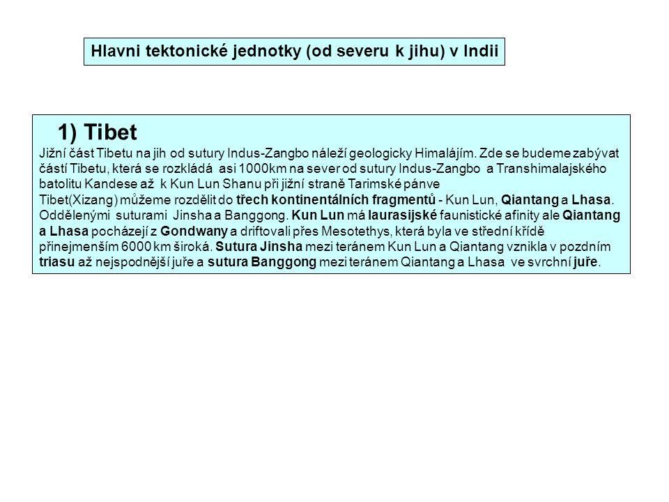 Hlavni tektonické jednotky (od severu k jihu) v Indii 1) Tibet Jižní část Tibetu na jih od sutury Indus-Zangbo náleží geologicky Himalájím. Zde se bud