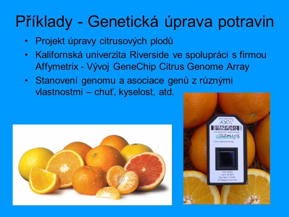 Příklady - Genetická úprava potravin Projekt úpravy citrusových plodů Kalifornská univerzita Riverside ve spolupráci s firmou Affymetrix - Vývoj GeneC