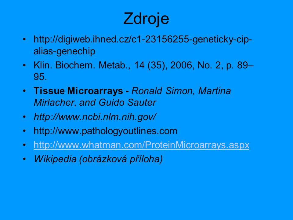 Zdroje http://digiweb.ihned.cz/c1-23156255-geneticky-cip- alias-genechip Klin. Biochem. Metab., 14 (35), 2006, No. 2, p. 89– 95. Tissue Microarrays -